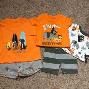 Two pairs of adorable shorts sleeve pajamas- 12 mo
